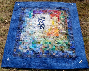 "Title ""Landscape with Inset"" Queen size bed quilt"