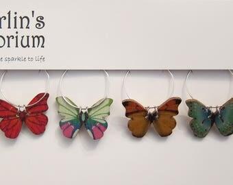 Butterfly Garden wine glass charm set