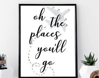 Oh The Places You'll Go Print // Minimalist Poster // Wall Art Print // Fashion // Typography // Office // Scandinavian // Boho // Modern