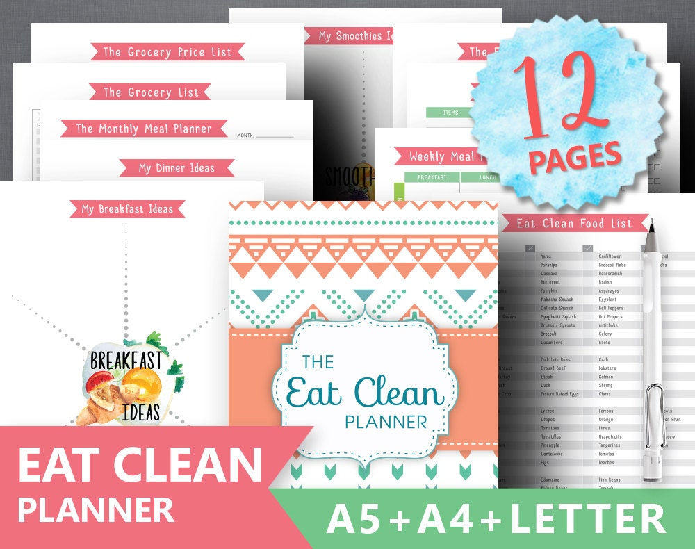 Clean Eating Planner Printable: EAT CLEAN PLANNER