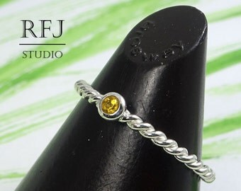 Natural Citrine Rope Silver Ring, 2 mm Round Cut Yellow Citrine Braided Ring, Sterling Stackable Citrine Braided Ring, Genuine Citrine Ring