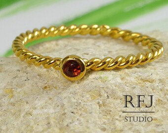 Natural Garnet Braided Gold Ring, 24K Yellow Gold Plated January Birthstone Ring, 2 mm Round Cut Red Genuine Garnet Yellow Gold Rope Ring
