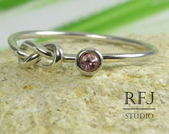 Natural Pink Tourmaline Infinity Ring, October Birthstone Silver Double Knot Ring, 2 mm Round Cut Stone Eternity Knot Ring Promise Knot Ring