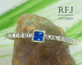 Square Synthetic Sapphire Textured Silver Ring, September Birthstone Square Setting Ring Princess Cut 2x2mm Blue Corund Promise Stacked Ring
