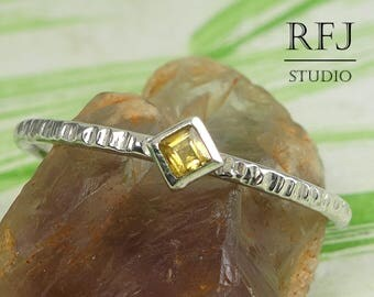 Kite Genuine Citrine Textured Silver Promise Ring, November Jewelry Princess Cut 2x2 mm Yellow Citrine Stacking Ring Rhombus Engagement Ring