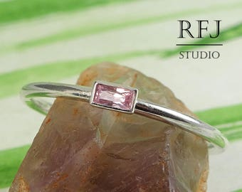 Slender Baguette Lab Pink Diamond Silver Ring, Rectangle Cubic Zirconia 3x1.5 mm Baguette Cut Classic Ring Pink CZ Sterling Stackable Ring