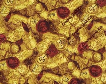 """Wine Fabric, Corks Fabric:  South Sea Imports Country Vineyard Corks and Foil   100% cotton fabric by the yard 36""""x44"""" (M144)"""