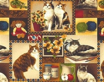 """New Cat Fabric: Fabri-Quilt 4 Paws Cats Patch 100% cotton fabric by the yard 36""""x43"""" (FQ12)"""