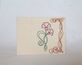 Art Deco greeting card, hand embroidered in linen, made to order