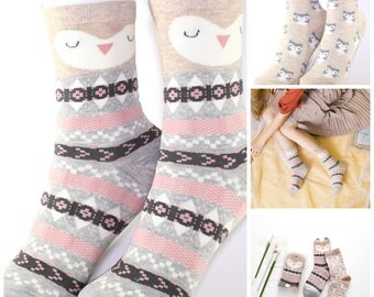 Cute Women's/Girl's Sleepy Owl Animal Pattern Cotton Socks