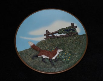 """1979 Creative World Aesop's Fables """"The Fox and the Grapes"""" Hand Painted Sculptured Bronze Collector Plate by Herman L. Deaton"""