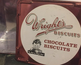 Vintage wrights biscuit tin mabel lucie attwell