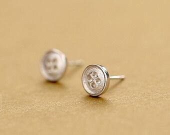 handmade Sterling Silver button stud earrings/button earrings