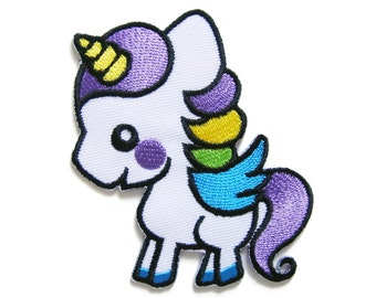 Cute Unicorn Embroidered Applique Iron on Patch 6.5 cm. x 7.7 cm.