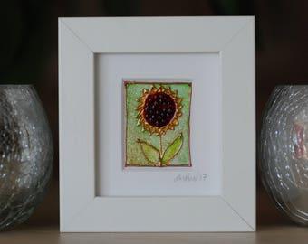 Sunflower  - Mini works of Art - framed