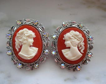 Vintage Silver Tone & Aurora Borealis Rhinestone Cameo Pierced Earrings