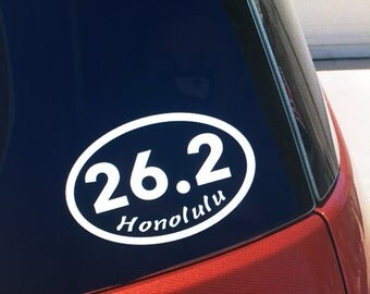 Honolulu marathon vinyl car window sticker