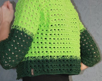 Cropped cardigan/Summer tops/Green jacket/Crocheted summer jacket/Crop Top/Blazer/Crochet Cardigan/Hand Knit Cardigan/Womens Lace sweater/