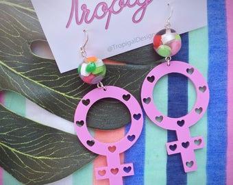 Feminist Riot Grrl costume pink earrings with multi coloured bead