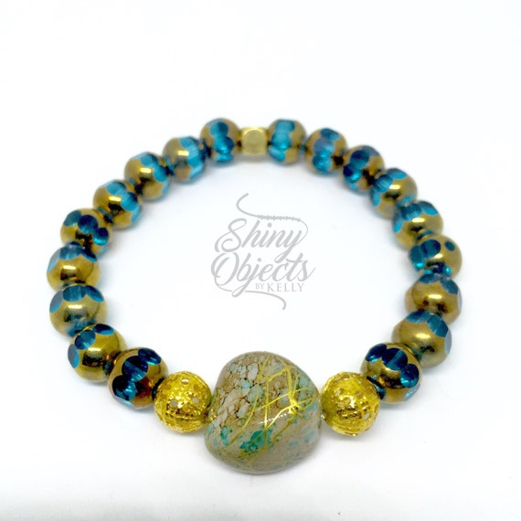 Teal Czech Glass Bracelet