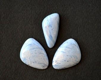 Set of 3 Tengizite ( Shaitanite)  stone cabochons 30 X 22 X 5,5 mm, 31,5 x 15 x 5 mm