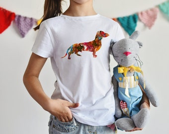 Dachshund T-shirt - Dog Tee - Boy Shirt Girl Shirt - Fashion T-shirt - White shirt - Printed shirt - Kids' T-shirt - Gift