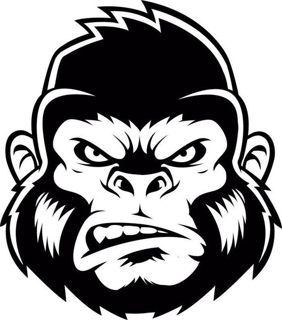 Gorilla 2 Ape Head Growling Kong Head Mean Monkey Mascot .SVG