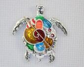 Silver and Enamel Turtle Needleminder / Turtle Needleminder / Colourful Turtle Needleminder