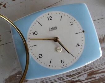 Hettich well working clock baby blue ceramic wall clock fine vintage