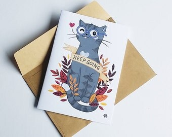 Keep going motivational greeting card - cat - kitty - inspirational - fall - autumn - leaves - typography - type - encouragement - set of 3