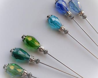 Sale~3PCS 9Cm Long Hat Pin Set In Green Or Blue Colours