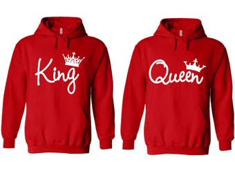 King Queen Write Couple Matching Premium 10 oz 80 cotton Red Hoodie - Price for 1 hoody-