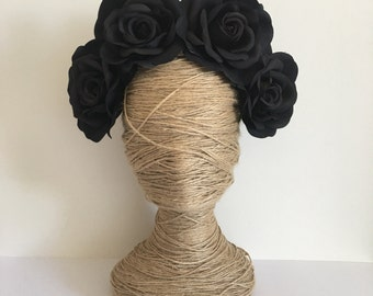 Black Rose Artificial Flower Crown / Floral Wreath / Racewear / Girl / Hair Flowers / Bridesmaid / Fake Flower / Silk / Fascinator /Headband