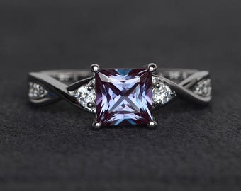princess cut alexandrite ring gemstone ring sterling silver color changing princess engagement ring