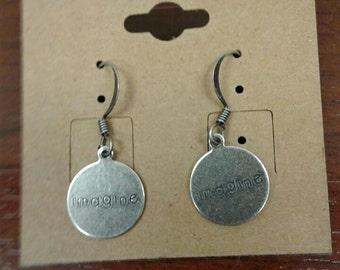 "Antique Silver ""Imagine"" Dangle Earrings"