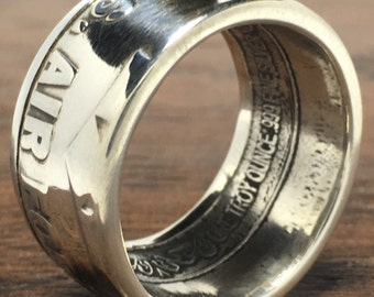 Air Force Silver Coin Ring-Coin Rings/Coin Jewelry/Silver Jewelry/US Coin Rings/Challenge Coin/USAF/America/USA/Gifts For Him