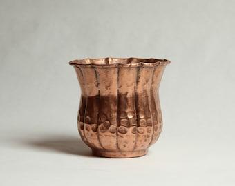 Vintage, Solid Copper Hammered Planter