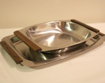 Two vintage Danish stainless steel & teak serving dishes