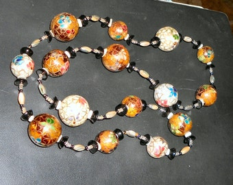 """Sale, Cloisonne Enamel Necklace 32"""",Was 45 Now 35 Onyx,Pearls,Abalone,Enamel Beads1"""". Free Shipping"""