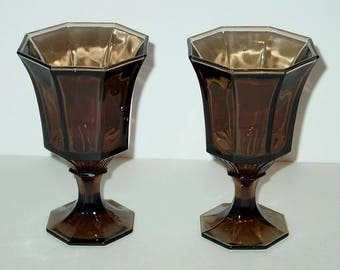 Independence Glass Octagonal Brown Water Goblets (2)