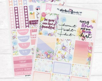 Purple Floral Kit - Planner Stickers for Erin Condren, Plum Planner