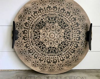 """18"""" Round Serving Tray, Boat cleat handles"""