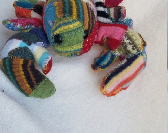 SALE!!! Now 54!  Patched Folk Art Lobster - Stuffed Animal, Hand Sewn With Vintage Sweaters