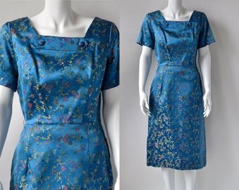 Original Vintage 1950's Blue Oriental Brocade Cheongsam Square Neck Cocktail Joan Dress Medium Birds Of Paradise Floral Chinese Pattern