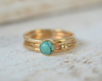 Gold Turquoise Ring, Natural Turquoise Ring, Gold Dainty Ring, Small Gemstone Ring, Gold Filled Ring, Stacking Ring, Gold Stackable Ring