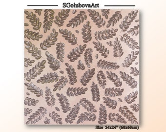 Original art impasto texture wall art Brown Pink design Easter gift Pastel Color Leaf Painting Modern Fine art Wall decor Palette knife art