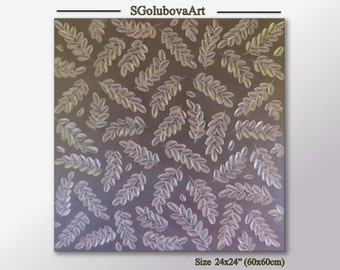 Original impasto texture wall art Brown Pink design Bedroom decor Pastel Color Leaf Painting Modern Fine art Wall decor Palette knife art