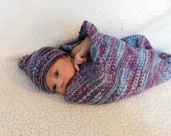 Hand knit baby blanket | Knit baby blanket and hat set | Gifts for baby || THE MADISON