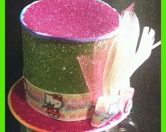 Mad hatter mini hat, hello Kitty green and pink glittery mad hatter hay