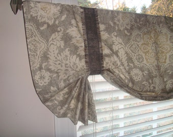 Rustic Farmhouse Bungalow Grey, Oatmeal, Beige Tie-up Valance Window Treatment Bedroom Office Bathroom Living Room Versatile